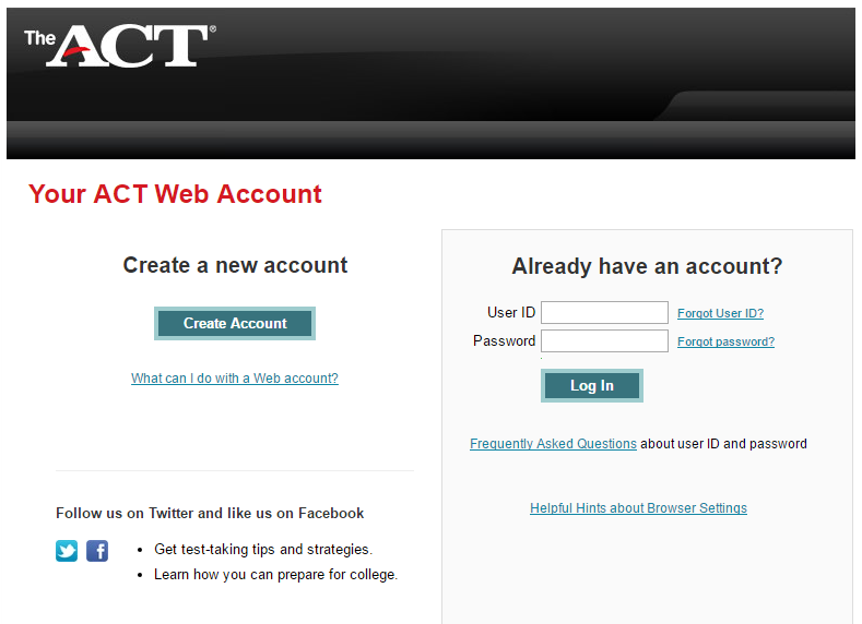 ACT Student Account Login