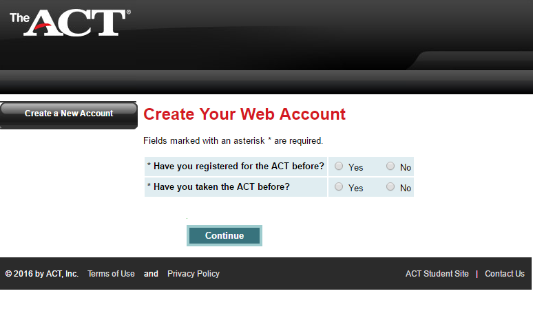 ACT Student Account Create Account