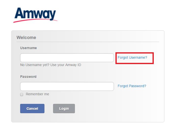 Amway Account Forgot Password