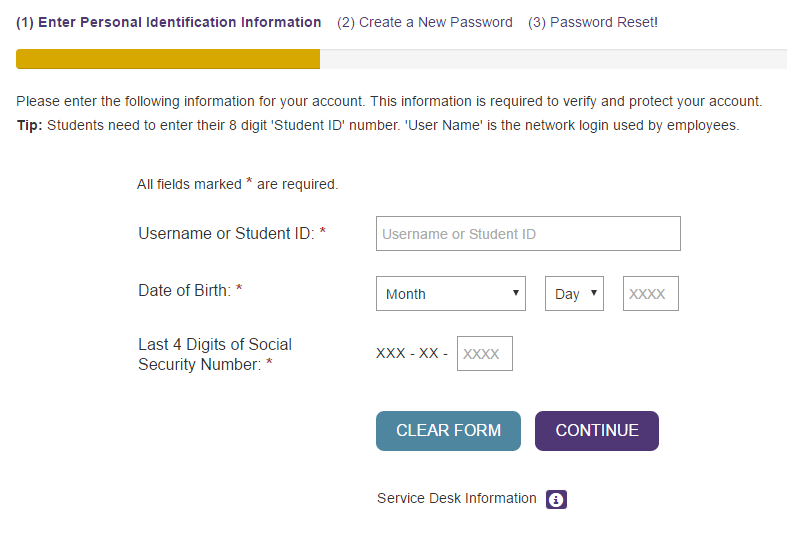 Bellevue University Bruin Student Portal Forgot Password 2
