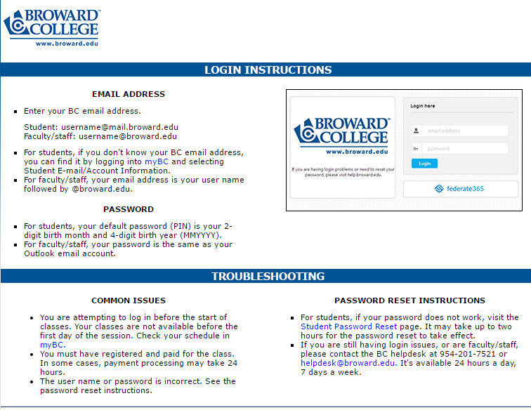 Broward College D2L Forgot Password 2