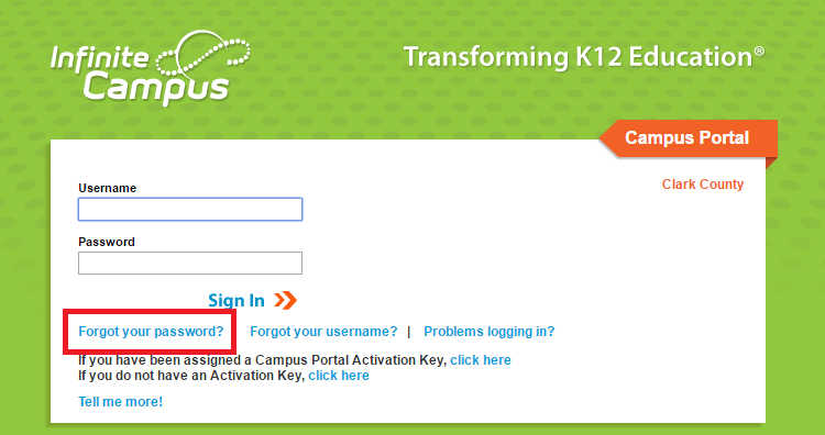 CCSD Infinite Campus Portal Forgot Password