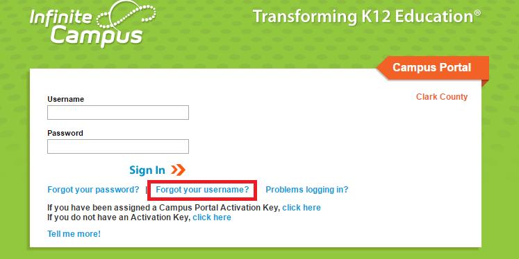 CCSD Infinite Campus Portal Forgot Username