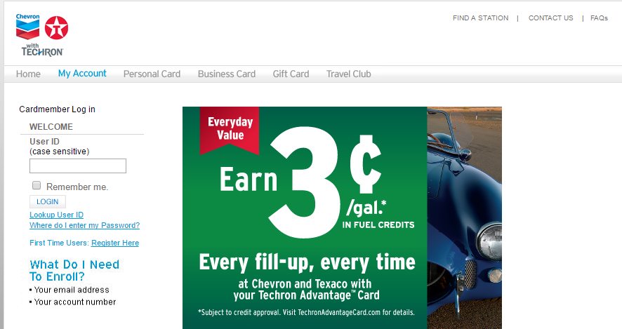 Chevron Texaco Credit Card Login