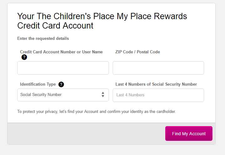 Children's Place Credit Card Forgot Password 2