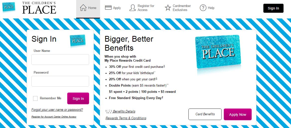 Children's Place Credit Card Login