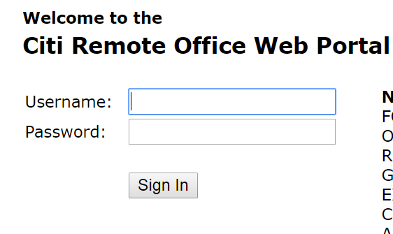 Citi Remote Office Web Portal Bill Payment