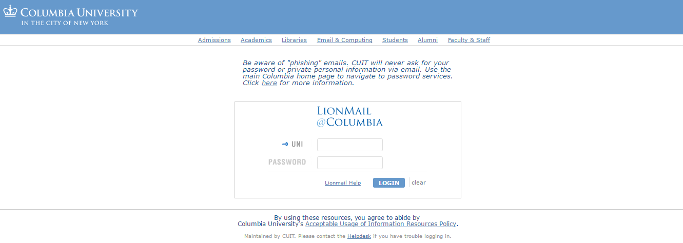 Columbia University LionMail Login