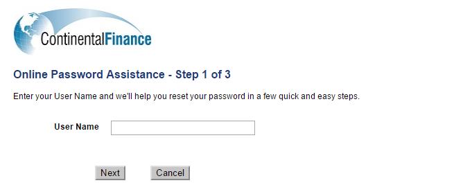 Continental Finance Credit Card Forgot Password 6
