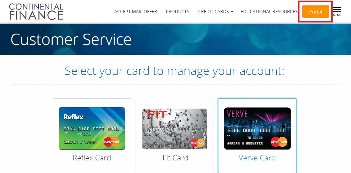 Continental Finance Credit Card Login