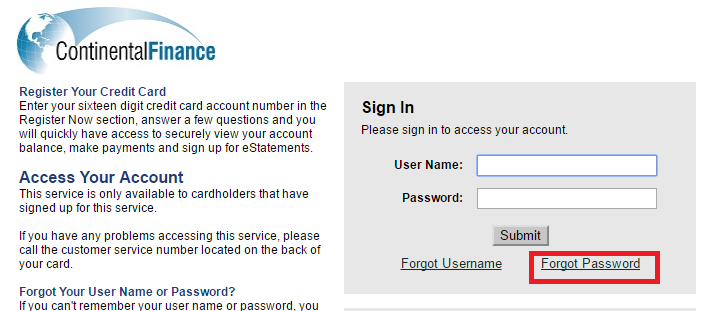 Continental Finance Credit Card Forgot Password5
