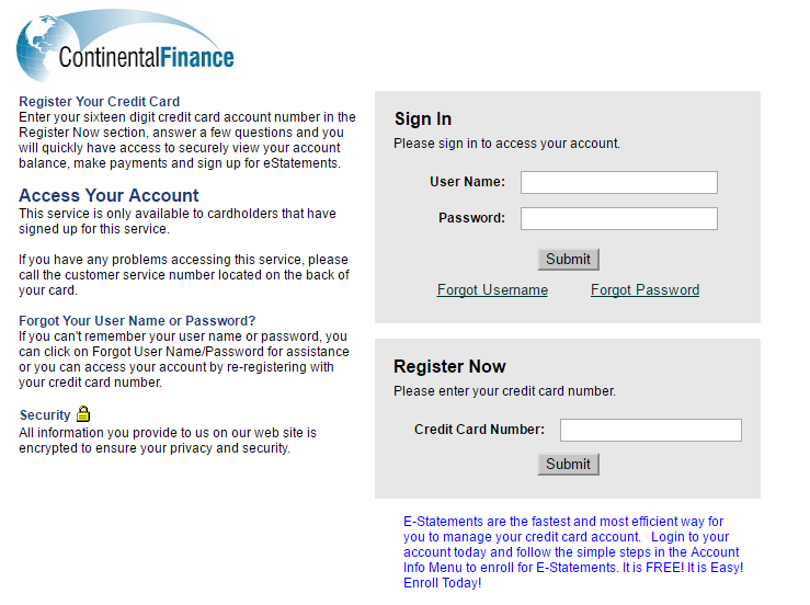 Continental Finance Credit Card Forgot Password