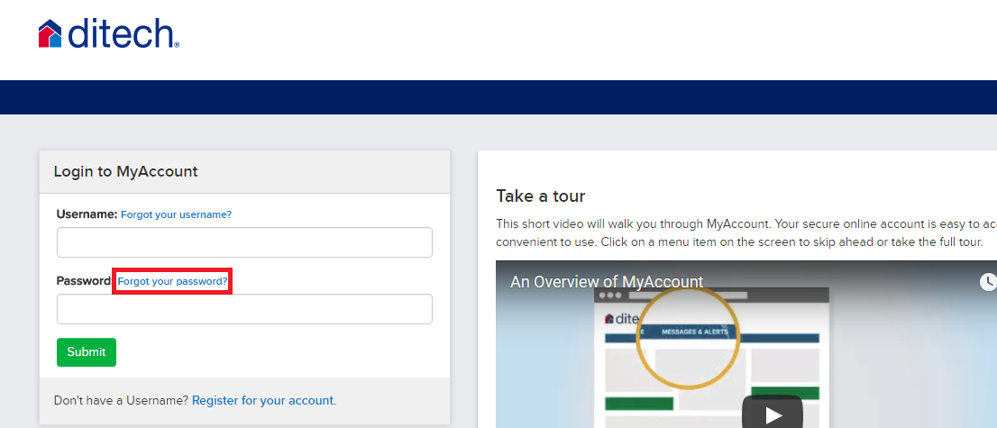 Ditech Mortgage Forgot Password