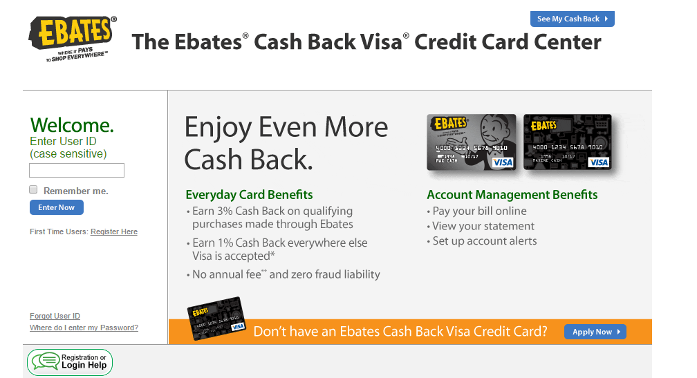 Ebates Credit Card Login