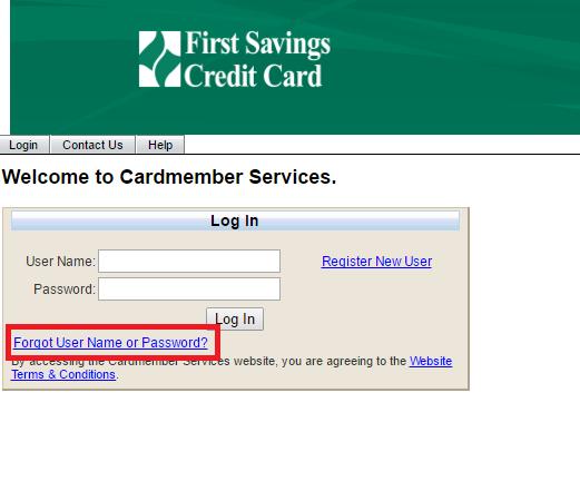 First Savings Credit Card Forgot Password
