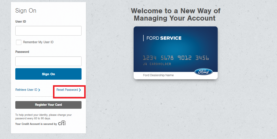 How To Login Into Ford Service Credit Card Account Bill