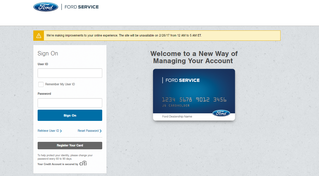 Ford Service Credit Card Login
