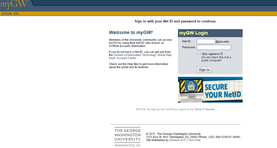 George Washington University MyGW Portal Login