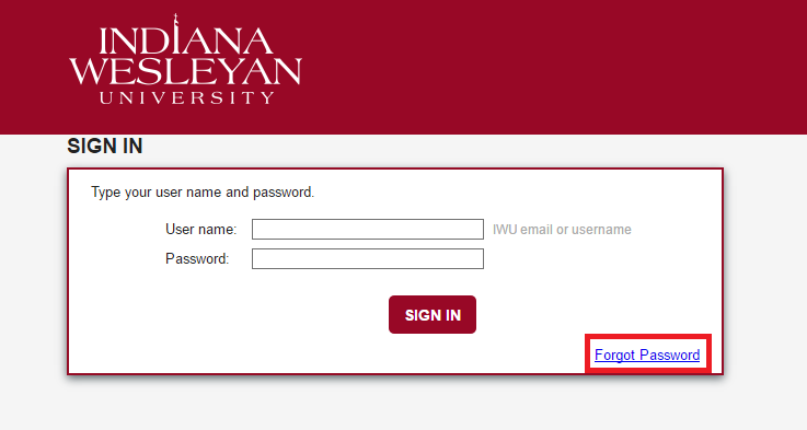 IWU Portal Forgot Password