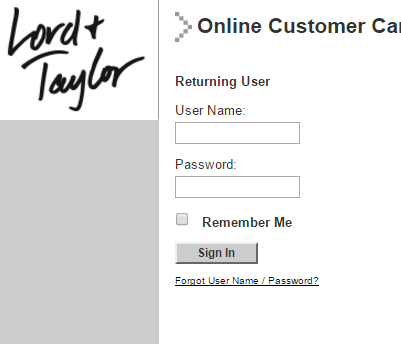 Lord Taylor Credit Card Bill Payment