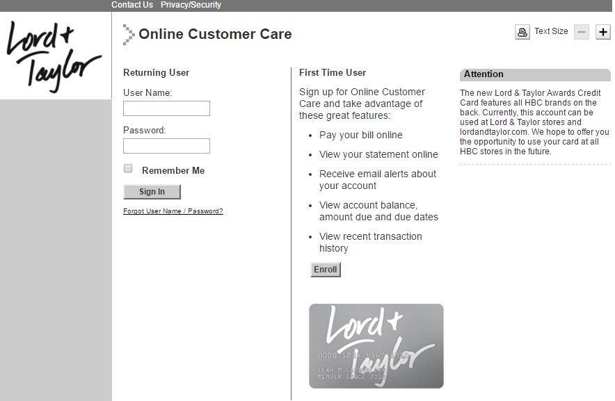 Lord Taylor Credit Card Login