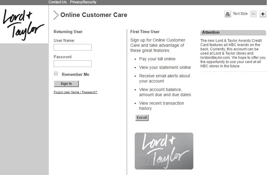 Lord Taylor Credit Card Login