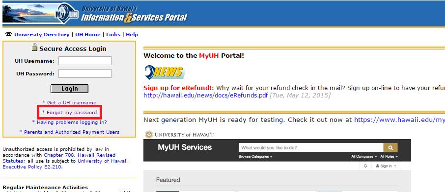 My UH Portal Forgot Password 2