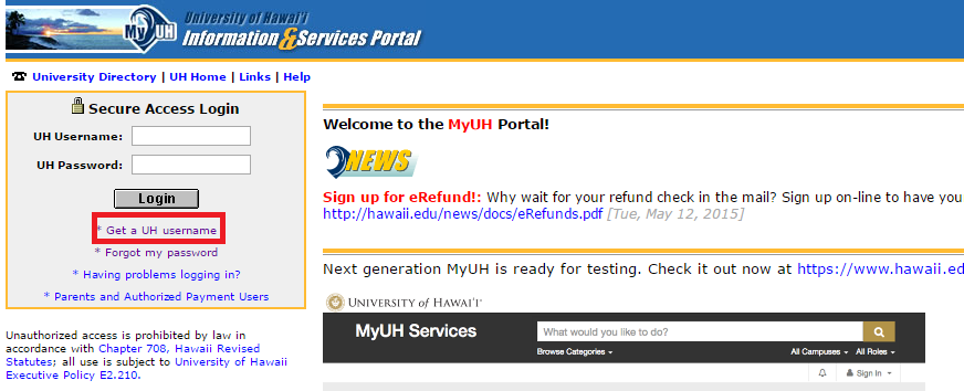 My UH Portal Forgot Password