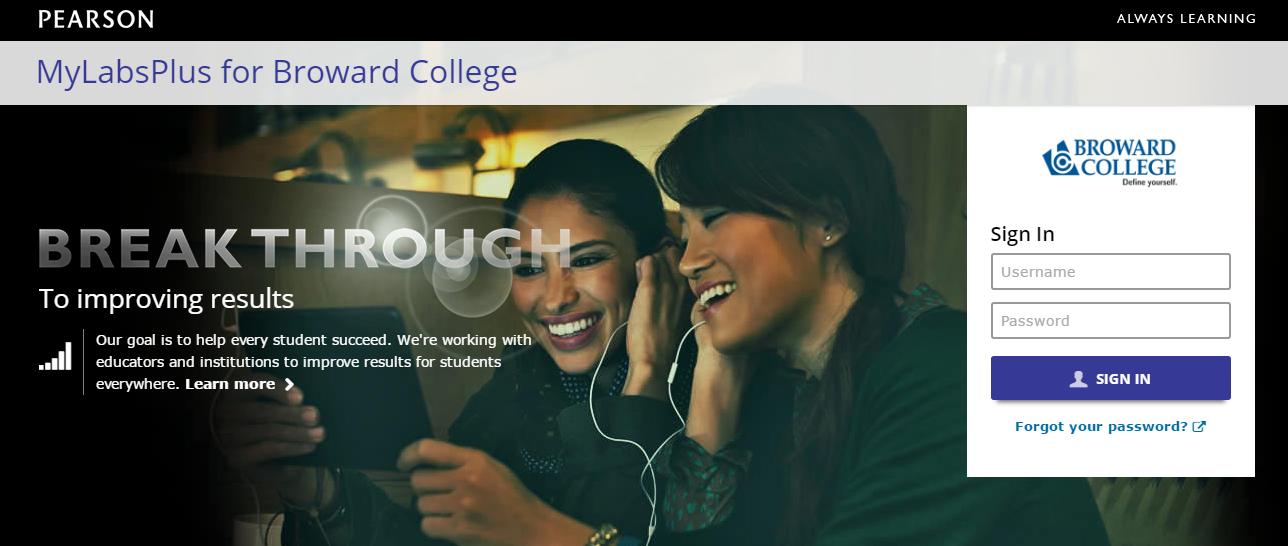 MyLabsPlus for Broward College Login