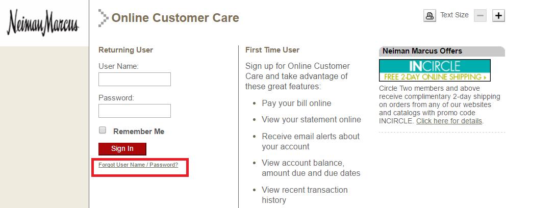 Neiman Marcus Credit Card Forgot Password