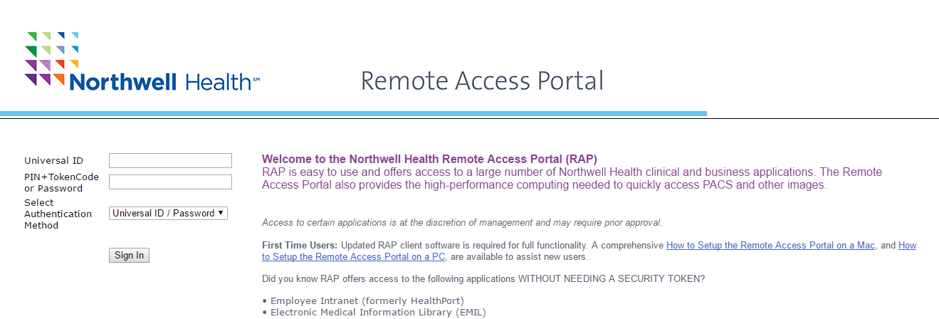 Northwell Health Remote Access Portal Login
