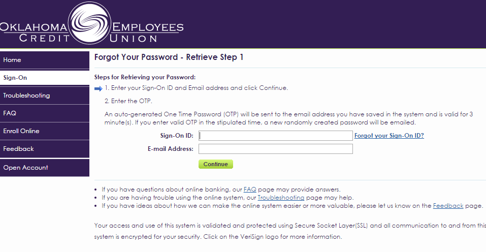 OCEU Account Oklahoma Employees Credit Union Forgot Password 2