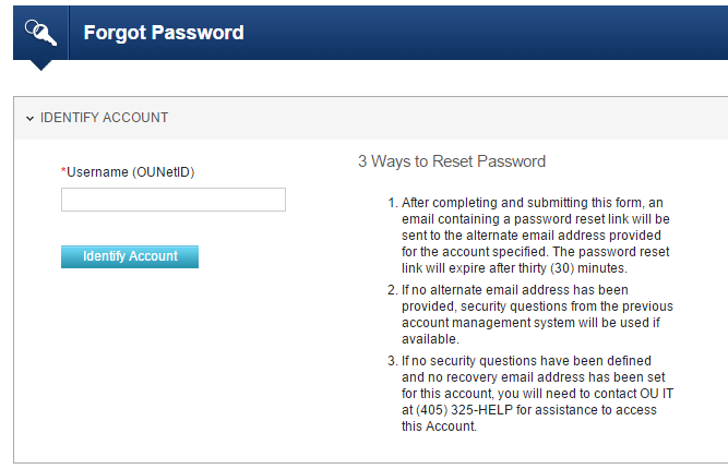 OU OZONE Account Forgot Password 2