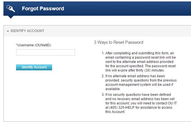 OU OZONE Account Forgot Password 2