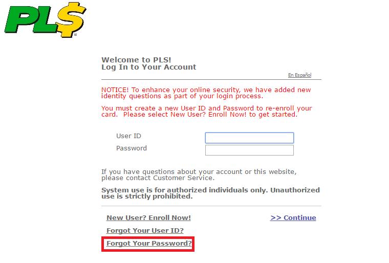 PLS Xpectations Card Forgot Password 2