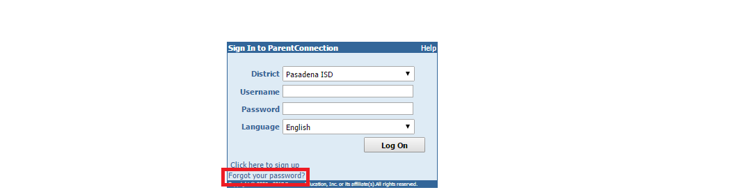 Pasadena ISS Parent Connection Forgot Password