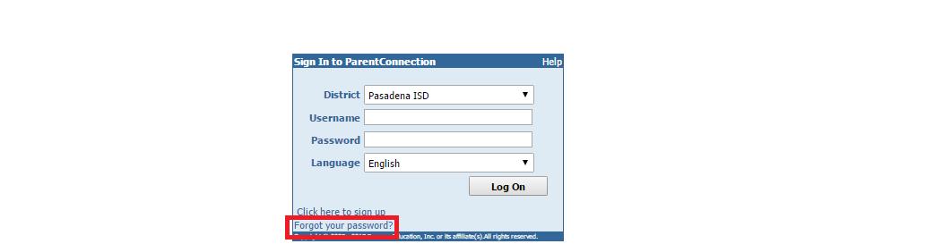 Pasadena ISS Parent Connection Forgot Password
