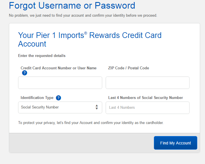 Pier One Credit Card Forgot Password