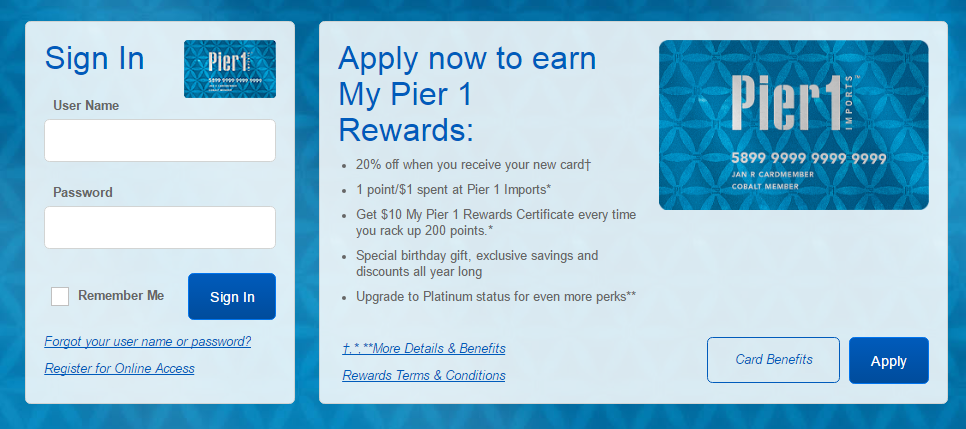 Pier One Credit Card Login