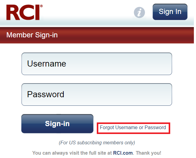 RCI Bill Payment