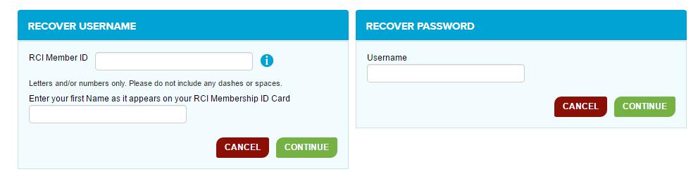 RCI Forgot Password