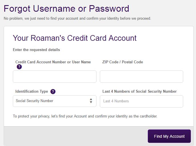 Roaman's Credit Card Forgot Password 2