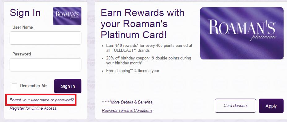 Roaman's Credit Card Forgot Password
