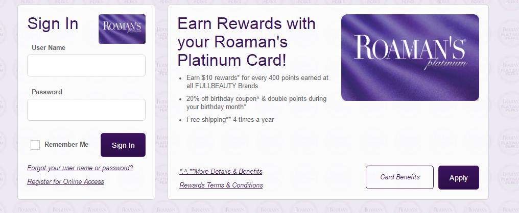 Roaman's Credit Card Login