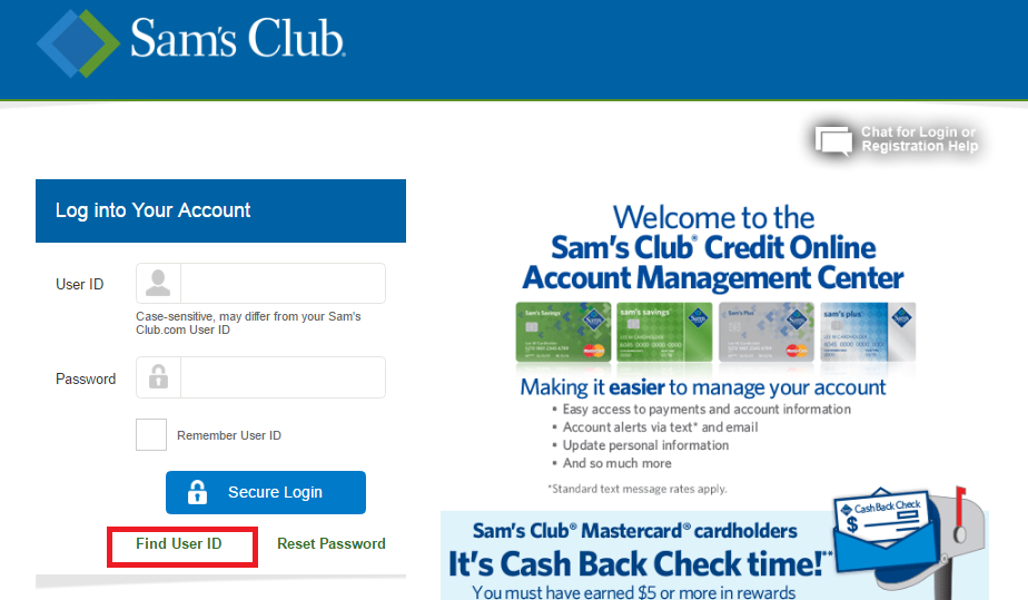 Sam's Club Credit Card Forgot Password 3