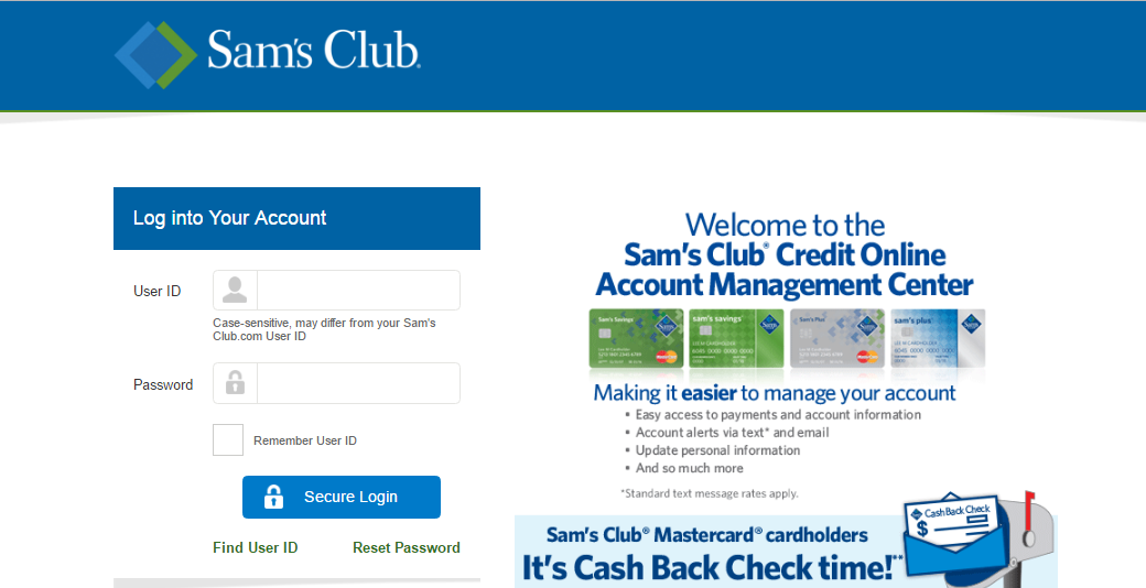 How To Login In Sam S Club Credit Card Account Bill Pay Help