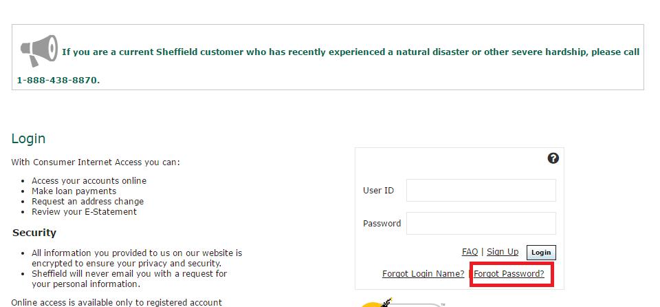 Sheffield Financial Account Forgot Password 3