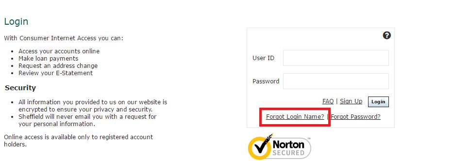 Sheffield Financial Account Forgot Password