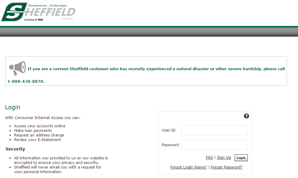 Sheffield Financial Account Login