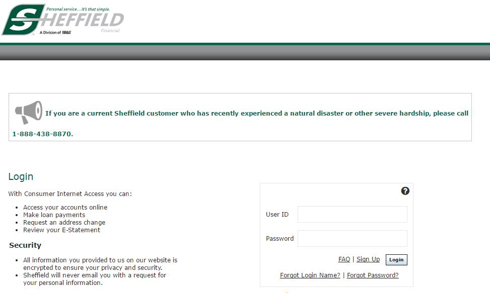 Sheffield Financial Account Login